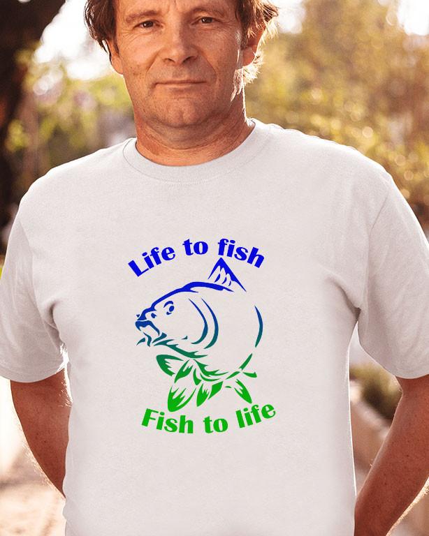 9831cd1421 Life to fish - Fish to life póló - Fényképes, feliratos póló (férfi ...