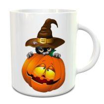 Halloween Pumpkin and Cat bögre