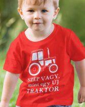 Vicces póló traktorosoknak -Szép vagy mint egy új traktor gyerek póló